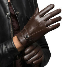 Men's Warm Lambskin Genuine Leather Gloves Men Winter Driving Black Brown 8597