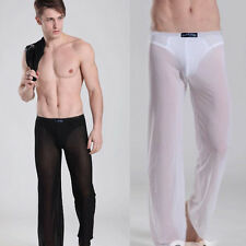 New Men's Soft Sheer See-through Long Pants Underwear Home Sport Yoga Trousers