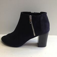 New Women's Casually Stepping Chunky Heel Open Booties Side Zipper Sz 6 to 9