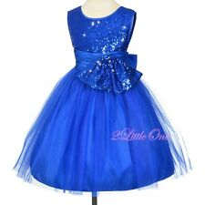 Sequined Tulle Dress Wedding Flower Girl Pageant Formal Occasion Sz 2T-10 FG314