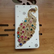 DIY Hot sale New Bling Diamond Peacock PU leather Flip case cover for LG Mobile