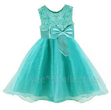 SALE Turquoise Rose Tulle Flower Girls Wedding Party Formal Dress Age 2T - 8y