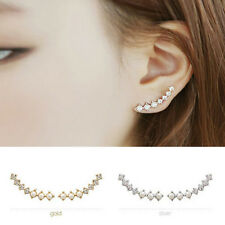 Hot Noble Woman Elegant Ear Stud Crystal Rhinestone Pearl Clip Earring Jewelry