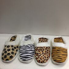 New Women's Animal House Slippers Plush Fuzzy Cushion Bedroom Shoes Sz S,M,L,XL