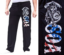 NWT Authentic SONS OF ANARCHY SOA America Flag Pajama PJ BLACK Sweat Pants S M L