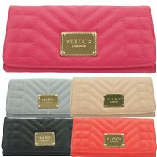 Ladies LYDC Designer Large Quilted Faux Leather Purse Boxed Wallet PL283
