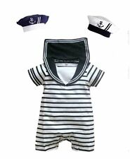 Baby Boy Girl Sailor Party Costume Suit Outfit Dress Romper Clothes+HATSet 6-24M