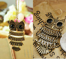 Vintage Women Bronze Hollow Owl Pendant Necklack Drop Earrings Jewelry Set Hot