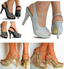 NEW Ladies Evening Bridal Prom Diamante Ankle Straps Mid Heel Shoes Sandals Size