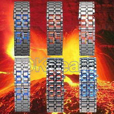 New Lava Iron Samurai Metal LED Digital  Faceless Bracelet Watch Bangle Men Cool