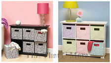 Wooden Storage Unit 6 Animal Print Cube Baskets Bins Black & White Pastels NEW