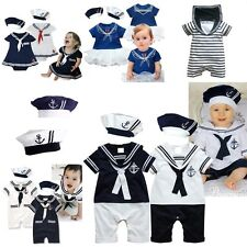 Baby Boy Girl Sailor Costume Suit Grow Outfit Romper Dress Clothes+HAT Set 3-18M