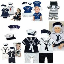Baby Boy Girl Sailor Halloween Dress Party Costume Outfit Clothes+HAT Set 3-18M