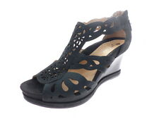 Earthies Campora Women's Open Toe Wedges Strap Black Nubuck