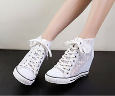 Womens Chic Wedge Heel Lace Up Mesh Hollow Out Leather Summer Tennis Sneakers