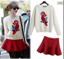 15 new arrival occident fashion Round collar parrot pattern sweater+Skirts suits