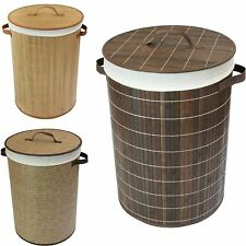 Round Laundry Basket Bamboo Washing Clothes Linen Storage Hamper Bin With Lid