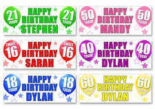 2 x PERSONALISED BIRTHDAY BANNERS -ANY NAME 1st 18th 21st 30th 40th