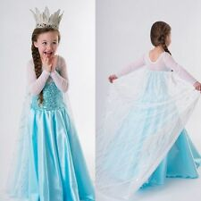 Hot ! New Frozen Elsa Anna Costume Princess Girls Child Fancy Outfit Long Dress