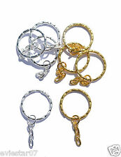 GOLD or SILVER PLATED SPLIT RING KEYRING 4 LINK FLAT CHAIN KEY FINDINGS BLANKS