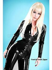 Sexy Punk WetLook Fetish Latex Overall Catsuit Bodysuit Clubwear Crotch Zipper