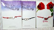 handmade LOVE VALENTINES DAY handcuffs TIE ON BRACELET on a CARD 2in1