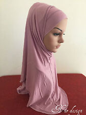 Women Cotton Jersey One size 2 Piece al-Amira Hijab with Rhinestone.