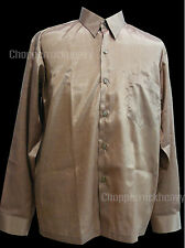 Thai Silk Gold Long Sleeve Button Mens Casual Shirts Dress Fashion Luxury Office