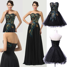 Sexy Vintage Peacock Masquerade Long Gown Ball Party Cocktail Evening Prom Dress