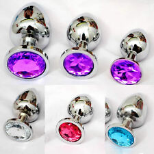 Stainless Steel Gay Toy Plug Metal Jeweled Anal Insert Stopper S-L size 4 colors