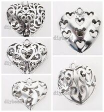 2/10pcs Nice Silvery Tone Alloy Charms Five Styles Hollow Heart Shape Pendants D