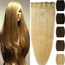 Popular One Piece Clip in Remy Human Hair Extensions Black Brown Blonde US