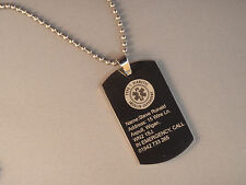 Personalised Engraved ID Pendants Your Choice Photo/Text Free Chain + Gift Box