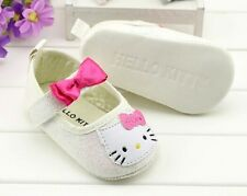 New HELLO KITTY Soft Sole Baby Girls Glitter Ballet Crib Shoes. Age 0-18 Months