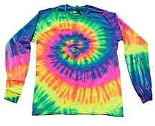 Neon Rainbow, Long Sleeve, Tie Dye T-Shirts, Kids 2-4 to Adult 3XL, 100% Cotton