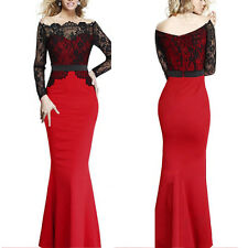 Wedding Women Lace Bridesmaid Maxi Long Prom Gown Evening Cocktail Party Dress