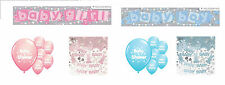 BABY SHOWER PARTY PACK BANNER BALLOONS CONFETTI PINK/BLUE PARTY DECORATIONS (EW)