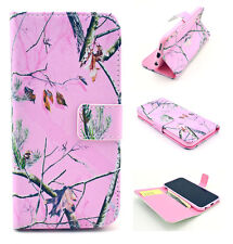 Fashion Printed Tree Split Card Stand Wallet Cover Phone Case For Samsung iPhone