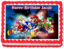 SONIC & MARIO Edible image Cake topper party decoration