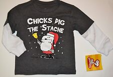 Snoopy Peanuts Charlie Brown Christmas Long Sleeve Layered Look Tee T-Shirt