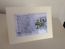 "Personalised Greeting Card , "" Mother of the Bride   Poem""  - Various Designs"