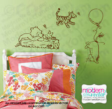 Classic Winnie the Pooh, Piglet, Tiger, and Eeyore Vinyl Wall Decal Nursery Room