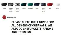 CHEFS SKULL CAP CHEF HAT PROFESSIONAL CATERING CHEF CAP AND CHECK CAPS