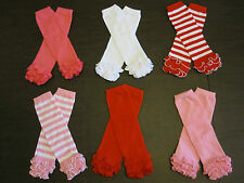 Baby Girl Toddler Child Ruffle Photo Prop LEG WARMERS Red WHITE Pink Leggings