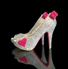 Marc Defang AB Crystals Luxury Bridal Wedding Heels w Fuchsia Bows/Hearts/soles