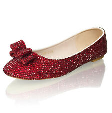 Marc Defang Ruby Red Crystals Luxury Bridal Wedding Ballet Flats with Bow Accent