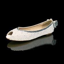 Marc Defang Off White Pearl Bridal wedding Ballet Flats w decor Clear Crystals