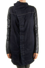 RICK OWENS Women BLUE Long jeans jacket leather sleeves  made in italy