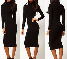 Europe Sexy Womens Long Sleeves Clothes Black Body-hugging Midi Dress S-XXL