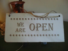 Open / Closed Shop Sign Wooden Distressed Double Sided Door Hanging Chic 4 Sizes